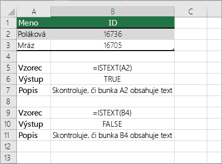 Príklady funkcie ISTEXT