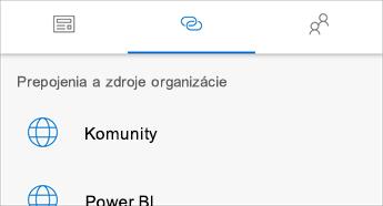 Snímka obrazovky skartou Prepojenia