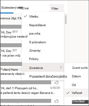 Snímka obrazovky s ponukou Filter a vybratou položkou Zoradiť podľa