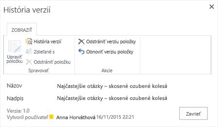 Dialógové okno História SharePointu 2016 zobrazujúce predchádzajúcu verziu