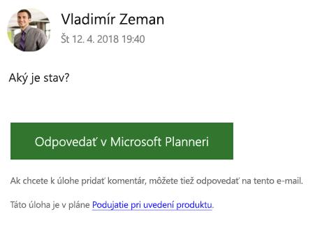 Snímka obrazovky: Zobrazuje sa príklad skupiny e-mailových správ, ktoré sa môžu zobraziť.
