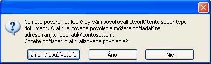 Dialógové okno zobrazujúce informáciu, že dokument sobmedzeným povolením bol preposlaný neoprávnenému používateľovi