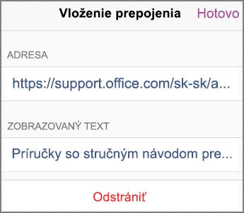 Dialógové okno hypertextového pripojenia v iPhone.