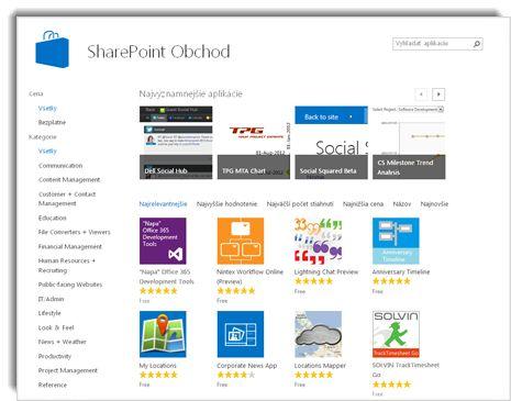 Snímka obrazovky SharePoint Obchodu
