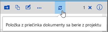 Poznámka pri vzatí z projektu so zvýraznenou ikonou