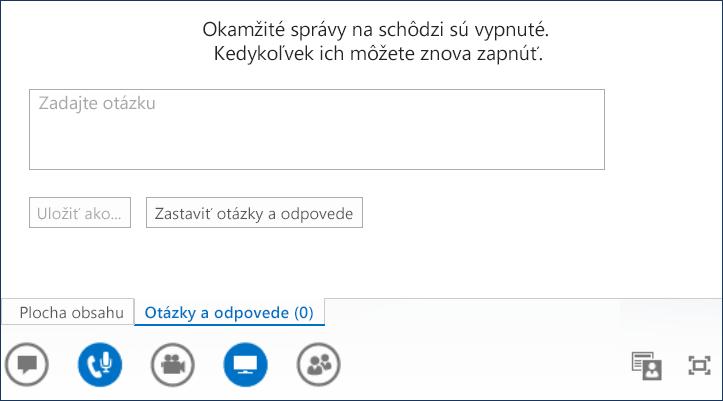 Snímka obrazovky s otázkami a odpoveďami prezentujúceho