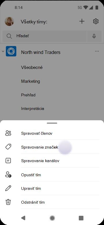Spravovanie značiek v aplikácii Teams pomocou Androidu