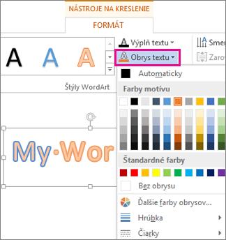 Galéria farieb obrysu textu na karte Nástroje na kreslenie – Formát