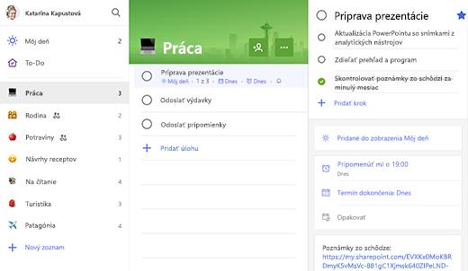 Snímka obrazovky so zoznamom Práca s otvorenou prípravou prezentácie v zobrazení podrobností