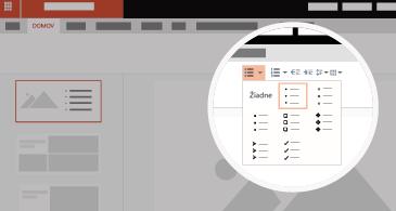 Snímka s priblíženou oblasťou zobrazujúcou dostupné možnosti zoznamov a odrážok