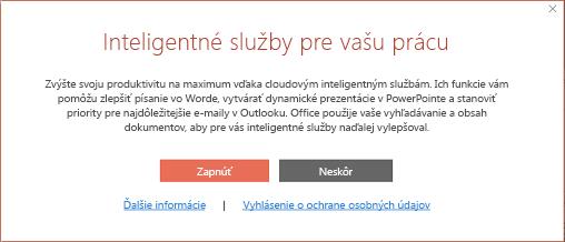 Dialógové okno prihlásenia inteligentných služieb balíka Office