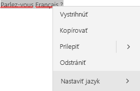 Vybratý text vo francúzštine skontextovou ponukou nastavenia jazyka.