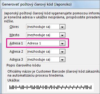 Polia v dialógovom okne Vytvoriť poštový čiarový kód