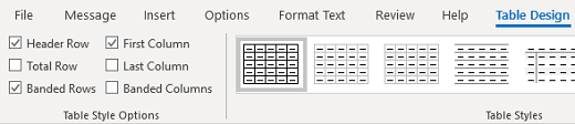 Outlook for Windows Table Design Table Styles group