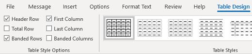 Skupina štýly tabuľky návrhu tabuľky v Outlooku pre Windows
