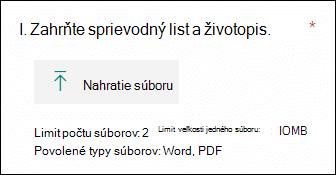 Otázka v službe Microsoft Forms, ktorá umožňuje nahratie súborov