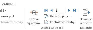 Snímka obrazovky s kartou Korešpondencia vo Worde zobrazujúca skupinu Ukážka výsledkov.