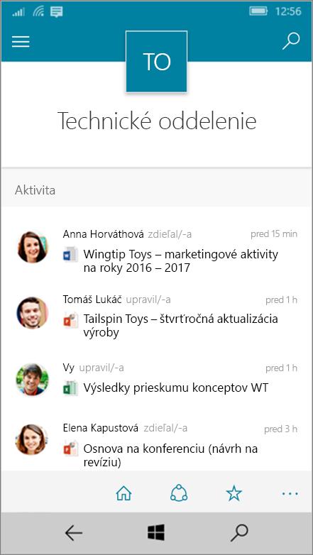 Windows 10 Mobile so zobrazením aktivity, súborov, zoznamov a navigácie