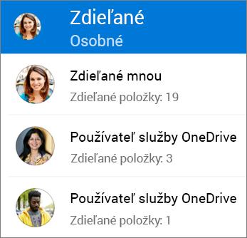 Zobrazenie Zdieľané súbory vaplikácii OneDrive pre Android