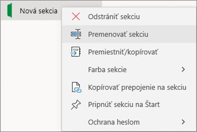 Snímka obrazovky skontextovou ponukou na premenovanie karty sekcie voOneNote pre Windows 10.