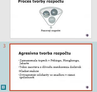 Zvýraznenie revízie na table miniatúr v PowerPointe