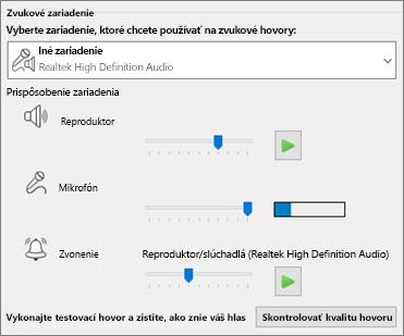 Prispôsobené nastavenia – reproduktor, mikrofón, zvonenie – pre zvukové zariadenie