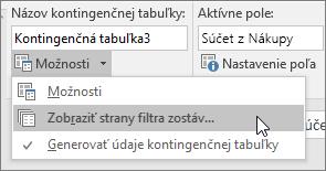 Možnosť Zobrazenie strán filtra správ