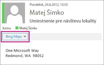 Outlooková správa zobrazujúca aplikáciu Mapy Bing