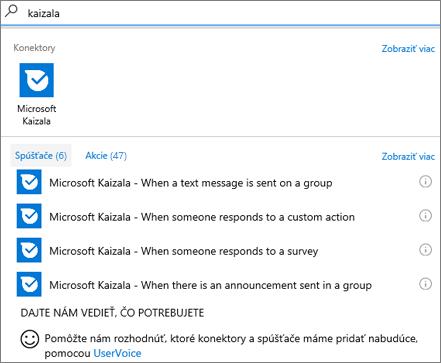 Snímka obrazovky: Zadajte Kaizala apotom, keď niekto odpovie na prieskum, vyberte položku Microsoft Kaizala