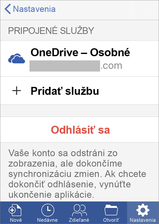 Zobrazuje možnosť Odhlásiť sa v Office pre iOS