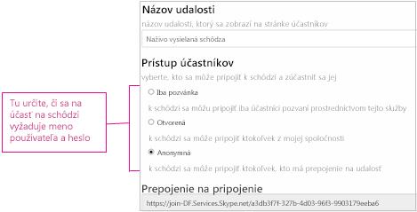 Snímka obrazovky s podrobnosťami o schôdzi so zobrazenými úrovňami prístupu