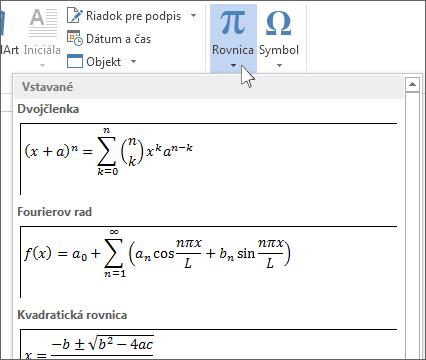 Vložiť rovnicu