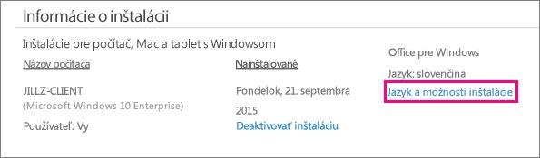 V správe konta služieb Office 365 sa zobrazí prepojenie Jazykové nastavenia a možnosti inštalácie