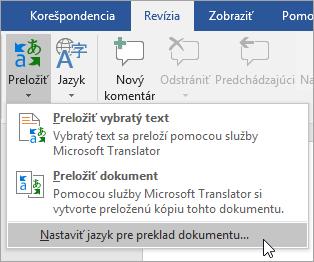 Nastavenie jazyka prekladu dokumentu sa zobrazuje v ponuke theTranslate