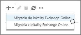 Výber položky Migrácia do lokality Exchange Online