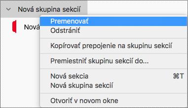 Premenovanie skupiny sekcií vo OneNote pre Mac