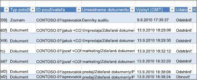 Údaje zostavy v zostave auditu odstraňovania