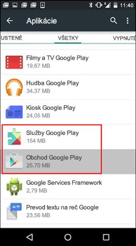 Vymazanie vyrovnávacej pamäte aplikácie Obchod Google Play