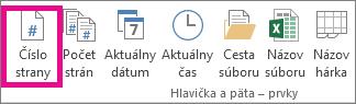 V skupine Hlavička a päta – Prvky kliknite na tlačidlo Číslo strany