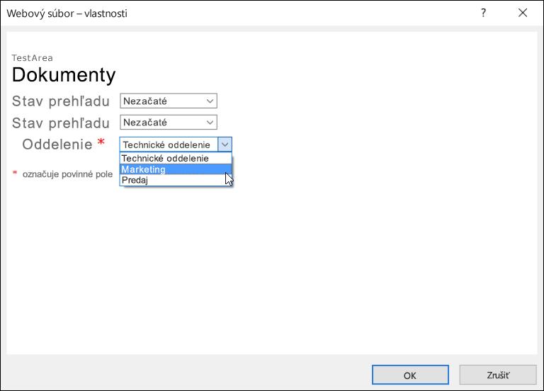 Dialógové okno Webový súbor – vlastnosti spoľom Oddelenia, ktoré zobrazuje zoznam stromi možnosťami.