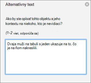 Tabla Alternatívny text na pridanie alternatívneho textu kobrázku vOutlooku