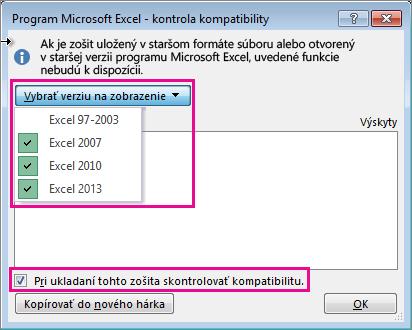 Kontrola kompatibility znázorňujúca verzie na kontrolu