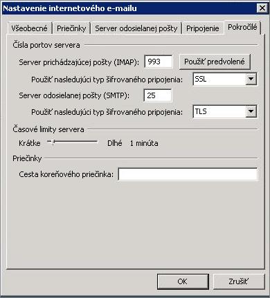 Snímka obrazovky skartou Spresnenie vdialógovom okne Nastavenie internetového e-mailu.