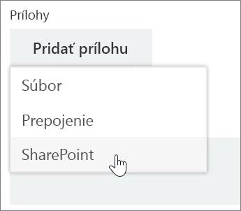 Snímka obrazovky soblasťou Prílohy okna úlohy sotvoreným zoznamom Priložiť.