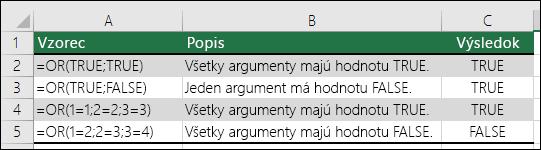 Príklady použitia funkcie OR.