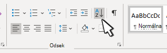 Paragraph section in Word with Sort pointed out