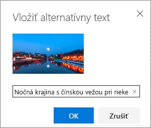 Dialógové okno alternatívny text v Outlooku na webe.