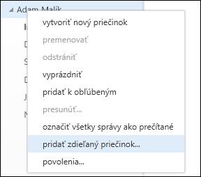 Možnosť ponuky pravého tlačidla myši Pridať zdieľaný priečinok vaplikácii Outlook Web App