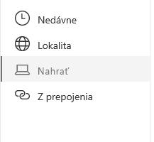 Snímka obrazovky výberu umiestnenia súboru v SharePointe.