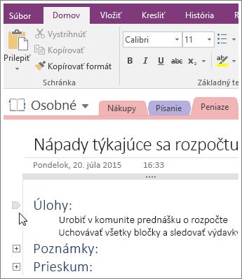 Snímka obrazovky spostupom, ako zbaliť prehľad vo OneNote 2016.